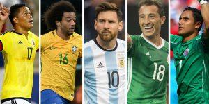 Bacca, Marcelo, Messi, Guardado y Keylor.