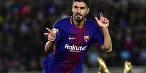 FC Barcelona s Luis Suarez  celebrates after scoring his second goal during the Spanish La Liga soccer match between Barcelona and Real Sociedad  at Anoeta stadium  in San Sebastian  northern Spain  Sunday  Jan 14  2018   AP Photo Alvaro Barrientos