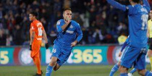 Juan Cala celebra un gol con el Getafe.