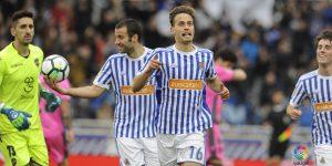 Canales celebra su gol ante el Levante.
