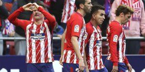 Gameiro, celebrando su último tanto con el Atlético de Madrid.