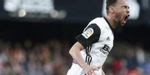 Coquelin celebra un gol con el Valencia.