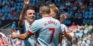 Maxi Gómez e Iago Aspas celebran un gol.