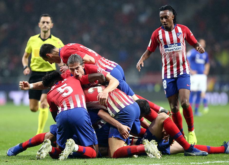 Los jugadores del Atlético festejan el gol ante el Athletic (Foto: ATM).